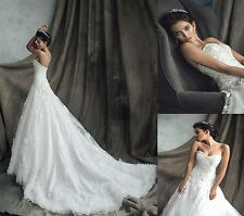 2014 New Sweetheart A Line Beads White Lace Luxury Wedding Dresses Bridal Gowns