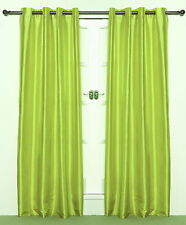 "Lime Green  Eyelet Taffeta Faux Silk Curtain PAIR 55"" wide x 90"" drop"