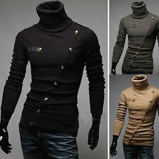 ST1350 Mens  winter  Fashion Luxury Casual Slim fit Turtle neck  T shirt  tops