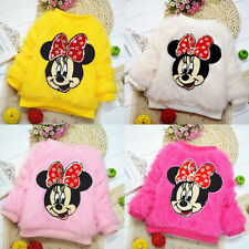 Baby Toddler Girls Minnie Mouse Plush Pullover Coat Sweater Cardigan Warm 0~4Y