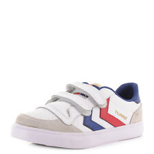BOYS KIDS HUMMEL STADIL JR LEATHER LOW WHITE BLUE RED VELCRO TRAINERS SHOES SIZE