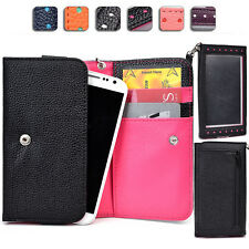 "Touch Responsive Woman-s Wrist-let Wallet Case Clutch ML|B fits 5.0"" Cell Phone"