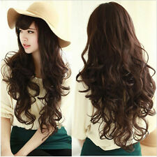 New Fashion Women's Ladies Long Curly Wavy Hair Full Wig Wigs Cosplay Party+Cap