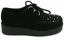 CHILDREN'S FLAT BLACK CHUNKY FLATFORM WEDGE LACE UP CREEPERS PUNK GOTH SHOES