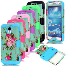 Deluxe Peony Flower Matte PC / Soft Silicone Hybrid Cover For Samsung Galaxy S4
