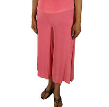 Coral Gaucho Pants Slinky Women Stretch Missy Plus Size Casual Travel Wear