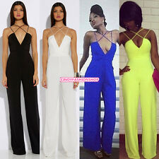 New Womens Sexy Strap Slim Sleeveless Bodycon Jumpsuit Romper Trousers Clubwear