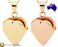 New 925 Sterling Silver Rose Gold Plate Love Heart Photo Locket Pendant Necklace