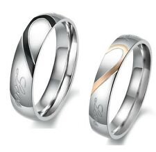 j Heart Shape Matching Titanium Steel Lovers Promise Ring Couple Wedding Bands