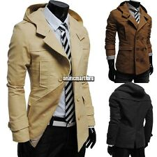 New Men Casual Double Breasted Trench Slim Fit Long Coat Fashion Hoodies Jacket