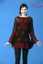 """ROJA Fall 2014 Heavy Embroidered Red """"Reflection""""Tunic with HUGE Bell Sleeves!"""