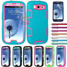 Shockproof Dirt Proof Hybrid Hard Case Cover For Samsung Galaxy S3 i9300 + Gifts
