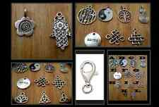 MANY CHOICES SILVER DANGLE CLIP ON CHARMS FIT NECKLACE BRACELET LOCKET ZIPPER