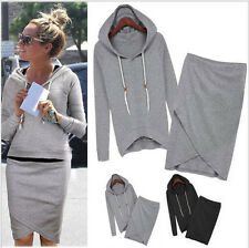 Women Sport Suits Baseball Sweater Hoodies Jacket Tops Bodycon Skirts Dress 2Pcs