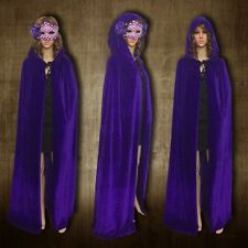 Hooded Velvet Cloak Wicca Robe Medieval Witchcraft Cape Shawl Halloween Party