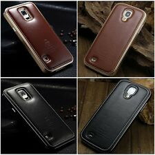 Metal/Aluminum Case Genuine Leather Cover For Samsung Galaxy S5 i9600 S4 Note 3