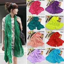 Ladies Women Girl Stylish Soft Cotton Voile Scarf Candy Color Warm Scarves Shawl