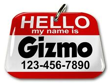 Hello My Name Is Red rectangle dog cat charm custom pet tag by ID4PET