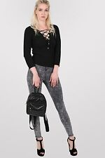 Anya Acid Wash Tube Jeans in Black