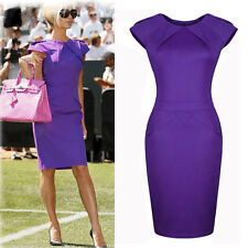 New Celeb Office Lady Purple Business Tunic Party Ball Gown Bodycon Sheath Dress