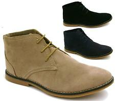 NEW MEN'S BLACK NAVY TAUPE FAUX SUEDE LACE UP CASUAL DESERT BOOTS SHOES