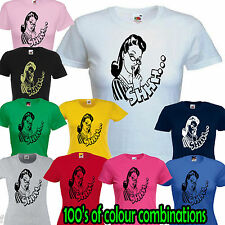 SHHH PINUP LADY SKINNY FIT T SHIRT funny retro 50s quiet finger lips ironic sexy
