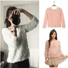 New Women Wild Sweet Lace 3D Rose Flower T Lady Pullover Blouse Sweaters