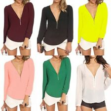 Women's Sexy Zipper V-neck Chiffon Tops Long Sleeve Shirt Casual Blouse T-shirts