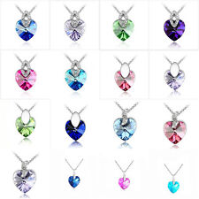 Fashion Women's Heart Pendant Silver Plated Crystal Rhinestone Chain Necklace