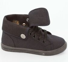 NEW BLACK CANVAS HIGH TOP  SNEAKERS SKATE WALKING LACE UP SHOES WOMEN
