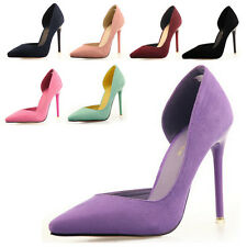2014 Sexy Fashion Women Suede OL High Heels Pointy Toe Hollow Stilettos Pumps UK
