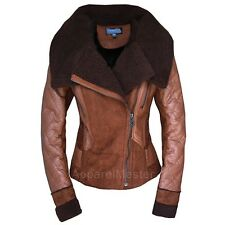 New Women's Faux Fur One Piece Leather Winter Coat Turn Down Collar Jacket AM