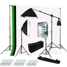 Studio 4 socket 3 softbox lighting kit black white green backdrop Support kit