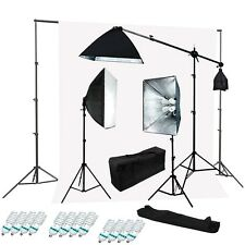 Studio 4 socket 3 softbox lighting kit white muslin backdrop Support System