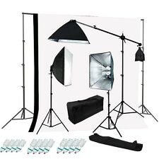 Studio 4 socket 3 softbox lighting kit black white muslin backdrop Support kit