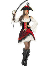 LADIES GLAMOROUS LADY PIRATE BLACK RED & WHITE WOMANS ADULT FANCY DRESS COSTUME
