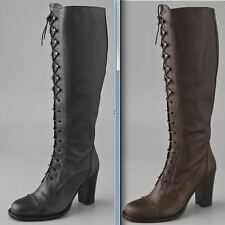 CHARLES DAVID BLACK LACE UP granny RIGOROUS TALL RIDING BOOT regiment 6 6.5 7