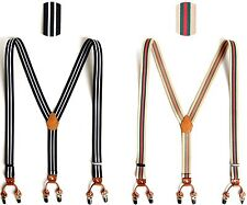 Leather Elastic Stripe Suspenders Wide Suit Office Adjustable Clip Braces Holdup