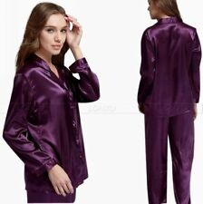 Women Silk Pajamas Pyjama PJS Sleepwear Set S,M,L 6,8,10,12,14,16,18,20 Purple