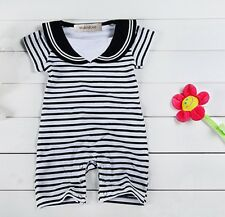 6-24 Months Baby Boys Cute Sailor Striped Black & White Romper Onesie Outfit