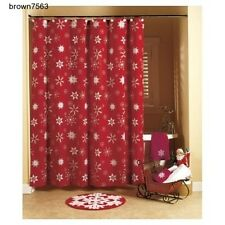 Bathroom Set Christmas Winter Crimson Snowflake Shower Curtain Towels Rug Red