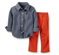 Carters 9 12 18 24 Months Chambray Shirt & Pants Set Baby Boy Clothes Outfit