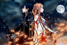 Asuna Kirito Sword Art Online Japanese Anime POSTER A4 A3 BUY 2 GET 3RD FREE 010