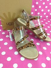 NEW UGG Australia Girls Youth Krystie Leopard Brown Leather Sandals Shoes NWT