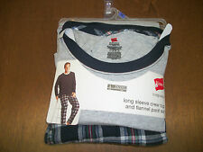 Hanes Long Sleeve Crew Top and Flannel Pants  New 2XL 3 color patterns