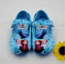 Girls Kids Frozen Anna Elsa Princess Leather Shoes Blue in UK Infant Size 6-3