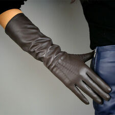 "Real Leather Gloves 16"" 40cm Long Brown Genuine Sheepskin Lambskin Elbow Evening"