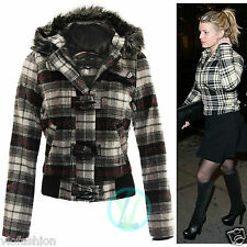 Ladies Womens Tartan Bomber Jacket Hooded Faux Fur Zip Up Girls Warm Coats 10 14
