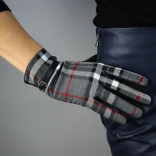 Scottish Grid Tweed Wool Real Leather Wrist Long Gloves Christmas Gift Red Grey