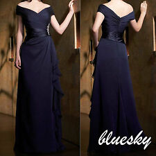 2014 Mother of the Bride/Groom Dresses Off Shoulder Long Evening Prom Party Gown